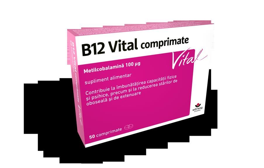 B12 ››ANKERMANN‹‹® Vital packshot - metilcobalamina, supliment alimentar; Contribuie la îmbunătățirea capacității fizice și psihice, precum și la reducerea stărilor de oboseală și de extenuare.